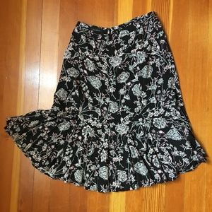 Talbots Black and Pink Floral Flowy Skirt 16